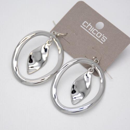 Chico/'s Bijoux poli énorme Cercle Goutte Cerceau Dangle Boucles d/'oreilles Texture Pour Femmes