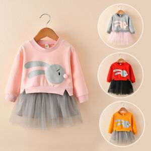 8754f9caa329 Kids Cartoon Bunny Dress Baby Girl Princess Patchwork Sweatshirt ...