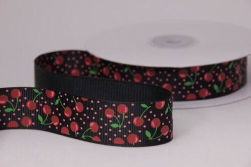"38mm 1.5/"" 9mm 3//8 1 METRE wide BLACK RED CHERRY GROSGRAIN RIBBON PRINT"