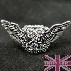 Big Angel Wings Tattoo Rose Rockabilly Crystal Ring Rhinestone