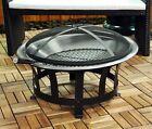 Outdoor BBQ Firepit Heater Patio Garden Fire Bowl Basket Steel Kingfisher