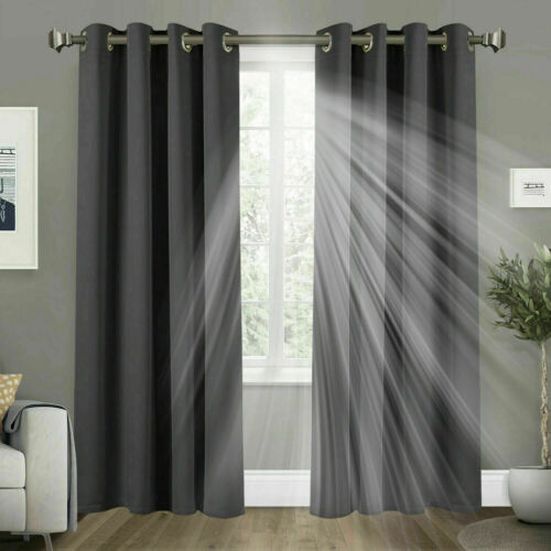Ready Made Thermal Blackout Curtains Eyelet Ring Top Curtain Pair Free Tie Backs