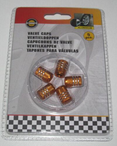 Set x5 Capuchons de Valves Aluminum pour Voiture Orange /& Argent Valve Caps NEUF
