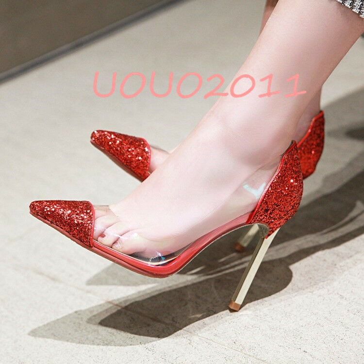 Sexy Womens Sequins Clear Pointy Toe Pumps High Heel Slip On Party Wedding shoes
