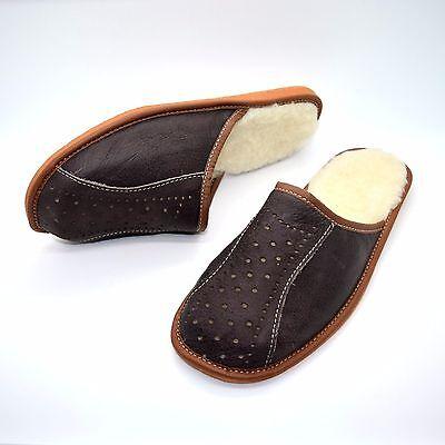 Zapatos Para Hombre Zapatillas Mula De Piel De Cordero Cuero Caliente Lana Talla 6 7 8 9 10 11 12/W16