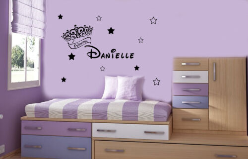 Personalised Princess Crown With 10 Stars  Wall Stickers Decals Murals Princess