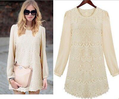 Ladies Hollow lace Dress chiffon Dress Lace Long sleeve Dress shirt T-shirt
