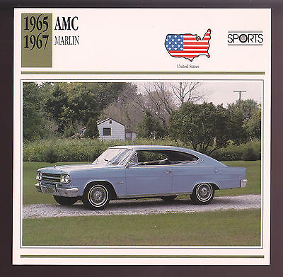 1965 1966 1967 AMC Marlin American Motors Car Photo Spec Sheet Stat Info CARD