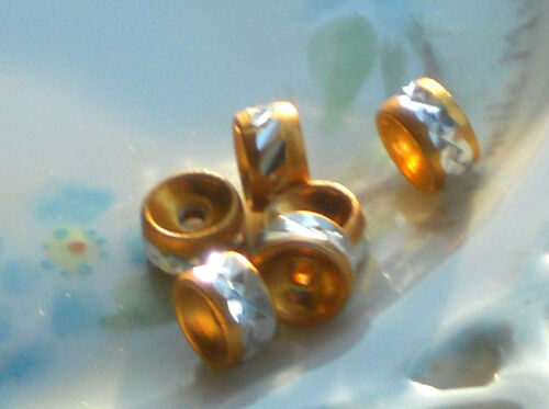 #996 Vintage Spacer Beads Rhinestone Look gold Plated Cut Silver Spacers NOS