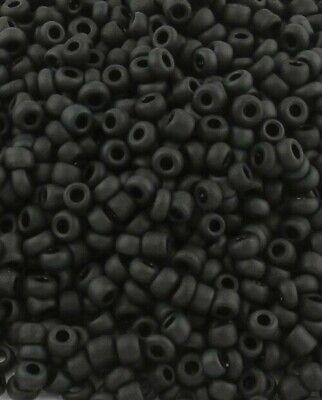 Rocailles Perlen 2mm Glas Schwarz Matt Opak 450g Schmuck Basteln Seed Beads A51