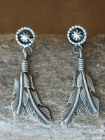 Native American Indian Jewelry Stamped Sterling Silver Feather Post Earrings