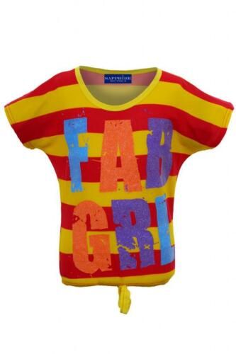 Kids Fab Girl Sparkly Party T-Shirt Children/'s Stripe Multi colour Casual Top