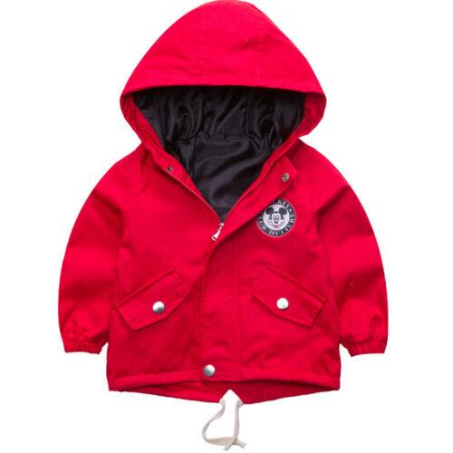 Kids Boys Girls Cartoon Mickey Mouse Zipper Hoodie Hooded Jacket Coat Outwear