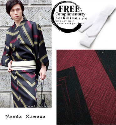 Yukata and OBI Belt Set of 2 LL Black Luxury Japanese Mens Summer Kimono