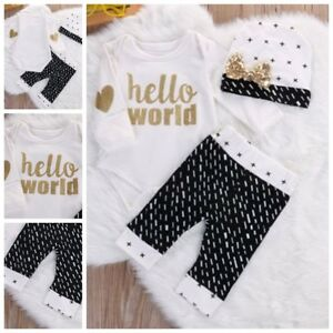 3-tlg-Neugeborene-Baby-Body-Set-Hello-World-Geschenk-zur-Geburt-Taufe-Gr-56-62