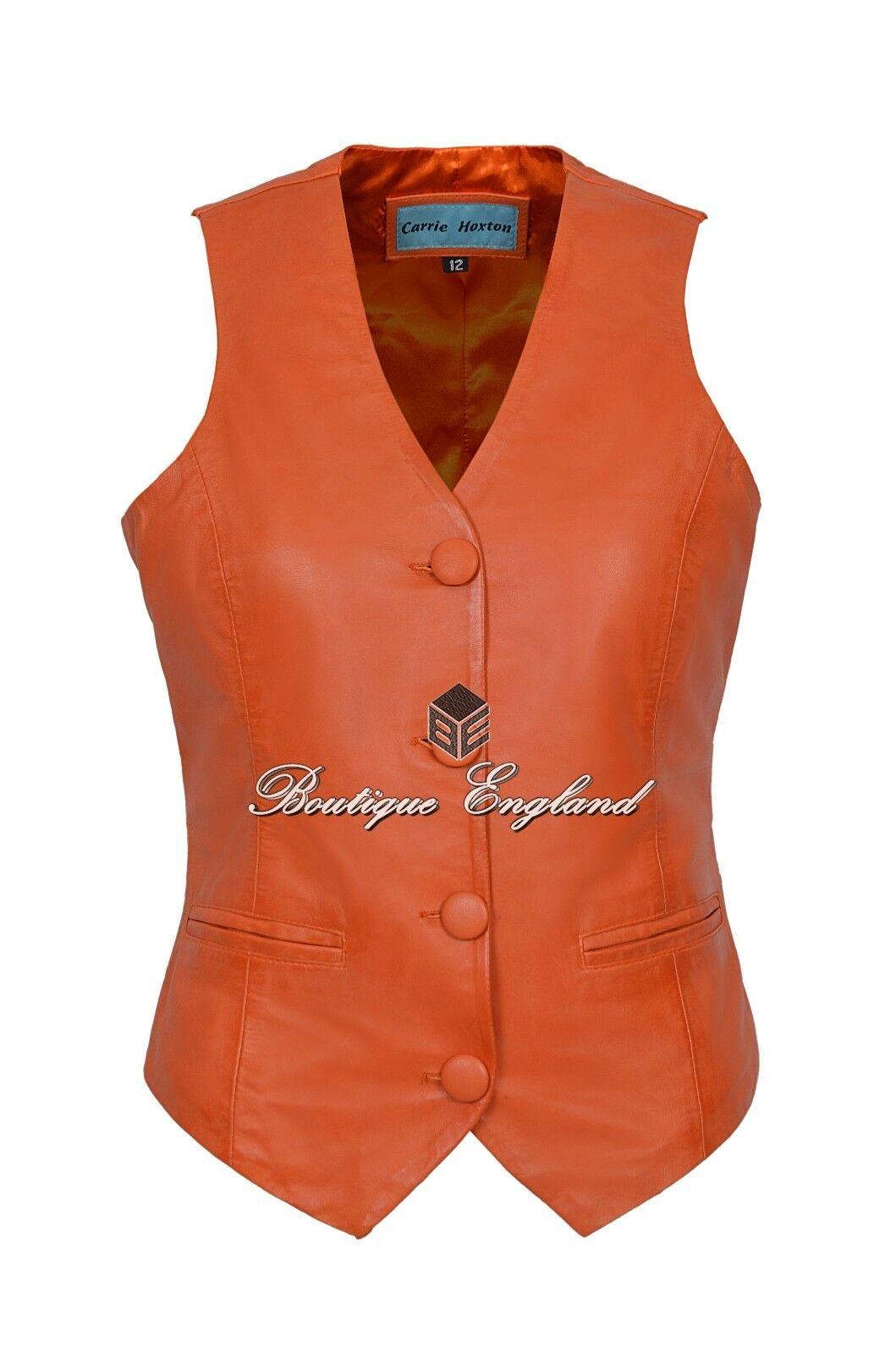 Ladies orange Waistcoat Cool Casual Fashion Vest Soft Lambskin Leather 5701