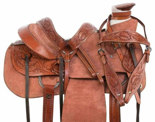 Rough Out Western Leather A Fork Wade Tree Roping Ranch Horse Saddle Tack Set