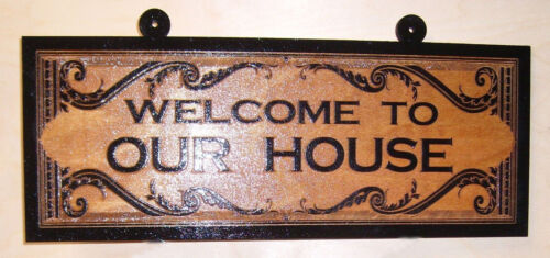 Personalized Wood Sign.WELCOME TO OUR HOUSE.Any text Laser engraved.Gift.