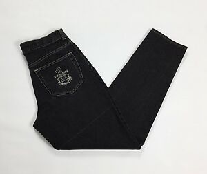 Trussardi-jeans-w32-tg-46-affusolati-boyfriend-usato-carota-neri-uomo-T1698