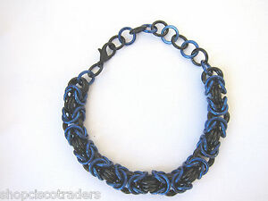 Chain-Mail-Bracelet-Anodized-Aluminum-BYZANTINE-WEAVE-Black-Blue-A39-Free-Box