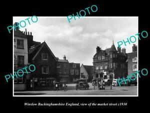 OLD-POSTCARD-SIZE-PHOTO-WINSLOW-BUCKINGHAMSHIRE-ENGLAND-MARKET-amp-STORES-c1930
