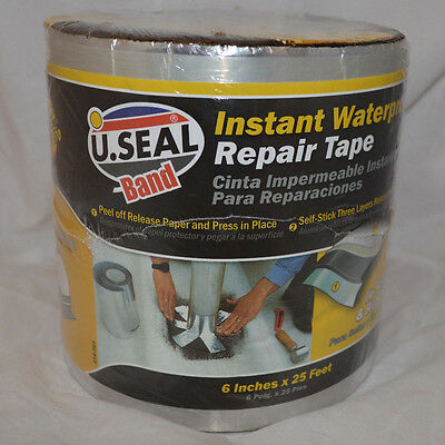 """U-SEAL Band Instant Waterproof Repair Tape 6"""" Wide 25' Roll"""
