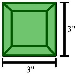 Colored Bevels - 3x3 Bevels - GREEN (5)