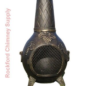 Image Is Loading Wood Burning Chiminea Grape Design Outdoor Fireplace Cast