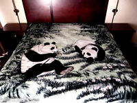 5 Pounds Soft Queen Korean Mink Blanket Plush Throw Panda Bears Green
