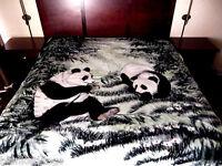 5 Pounds Soft Queen Korean Mink Blanket Plush Throw Panda Bears Green