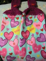 Sweet Candy Heartslot Of 2 Crochet Top Kitchenbathcottage Hand Towels