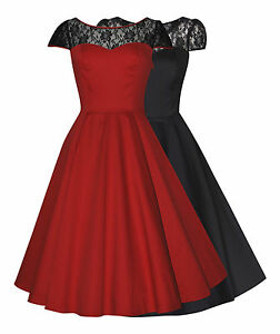 Ladies-40s-50-039-s-Vintage-Red-Black-Lace-Insert-Party-Cocktail-Evening-Dress-New