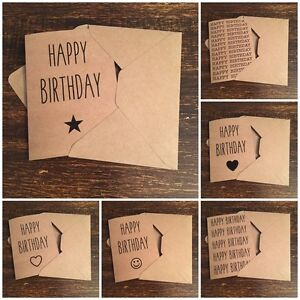 Image Is Loading Happy Birthday Card Kraft Vintage Rustic Country Chic