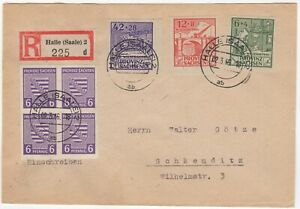1946 Registered Cover to Schkeuditz. Franked with Set of 3 Imperf Rehousing