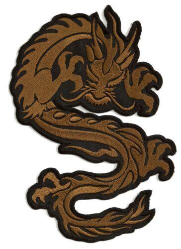 Patch thermocollant écusson brodé patche dragon brun grande taille dorsal