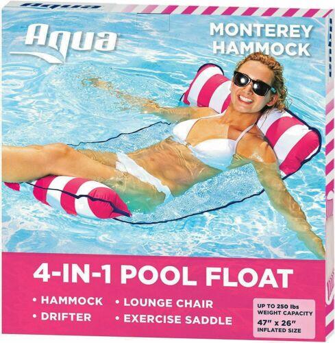 Aqua 4-in-1 Monterey Inflatable Pool Hammock Saddle Lounge Chair Hammock Lot #1