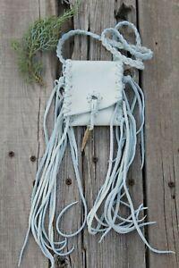 White-leather-necklace-bag-White-fringed-medicine-bag