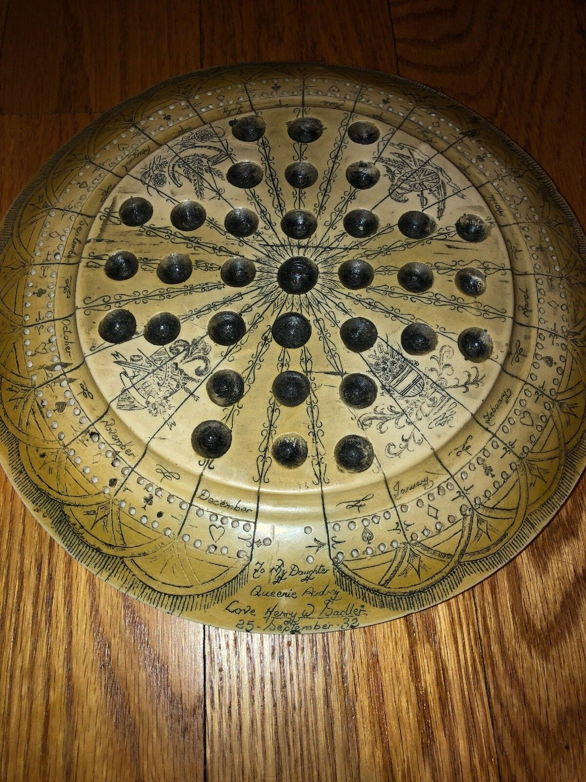 Cribbage Marble Zodiac  Etched Game Board Faux Scrimshaw Inscribed