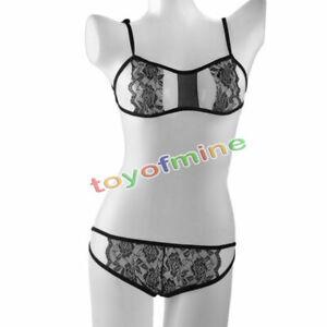 Sexy-Lingerie-Lace-Dress-Women-Underwear-Babydoll-Sleepwear-G-string-Black