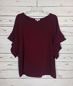 Umgee-Boutique-Women-039-s-S-Small-Burgundy-Ruffle-Short-Sleeve-Cute-Fall-Top-Blouse