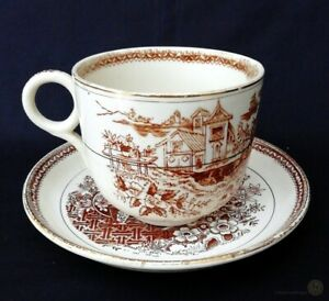 Antique-W-amp-H-Pottery-Oversized-Cup-amp-Saucer-Mandarin-Pattern-FREE-Delivery-UK