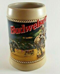 Vintage-1992-Anheuser-Busch-BUDWEISER-RODEO-STEIN-18768-Free-Shipping