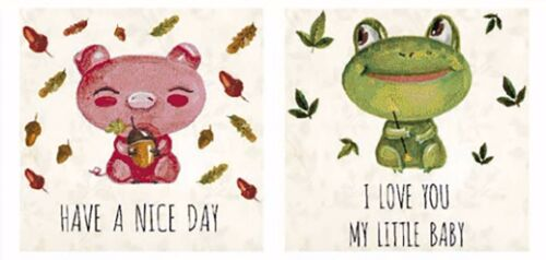 """13379-BC New Design 2 Pig Frog Have A Nice Day 1-5//8/"""" Ceramic Decals Dx"""