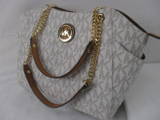 8fd48b946f14 Michael Kors Vanilla Signature Travel Jet Set Chain Shoulder Tote Bag  Wallet for sale online