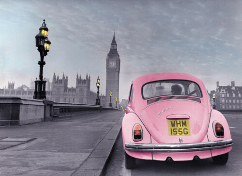 Photographic poster of old style VW beetle//Westminster