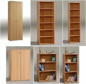 Image Is Loading BEECH EFFECT BOOKCASES BOOK SHELVES FILING STORAGE  CUPBOARDS