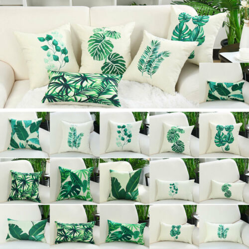 Green Leaves Throw Pillow Cover Cotton Pattern Cushion Cover Home Decorative