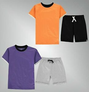 Garcons-Crafted-Casual-raye-a-encolure-ras-du-Coton-T-Shirt-Short-Set-Taille-7-13