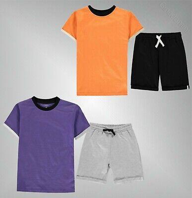 Ragazzi Artigianale Girocollo A Righe Casual Cotone T Shirt Shorts Set Size 7-13-mostra Il Titolo Originale