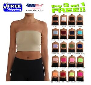 90efa7a1752b7 Image is loading Seamless-Tube-Top-Layering-Bandeau-Stretchable-Spandex-ONE-